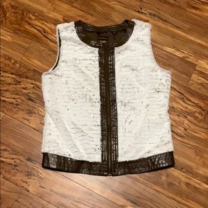 Multiples Fur and Leather Vest